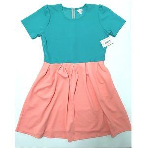 ➕ LuLaRoe Amelia fit & flare aqua & coral dress 3X